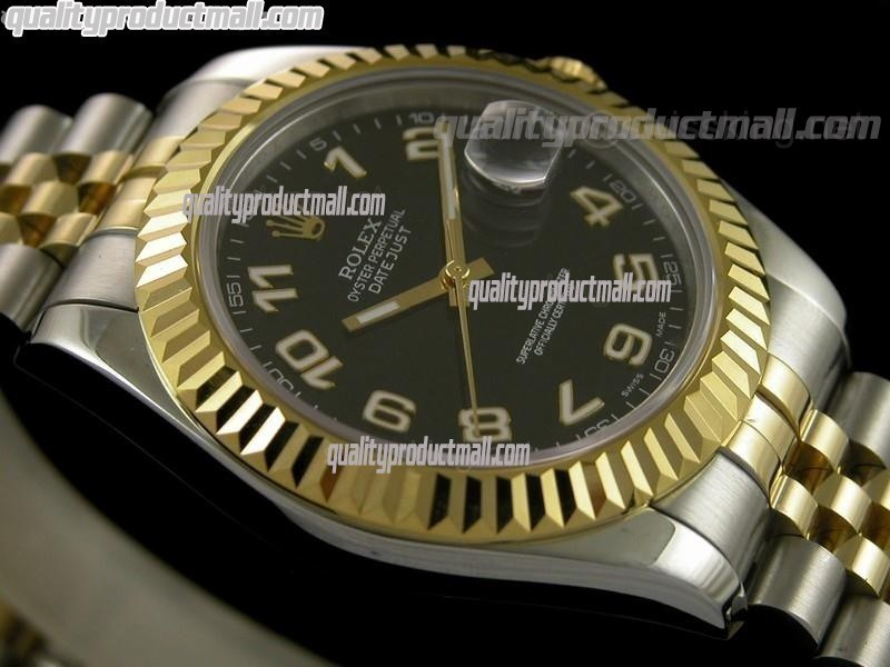 Rolex Datejust II 41mm Two Tone Fluted Bezel18k Gold-Black Dial Lumed Numeral Markers-Stainless Steel Jubilee Bracelet