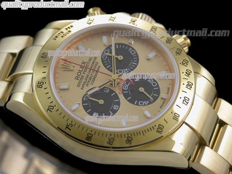 Rolex Daytona Swiss 18K Gold Chronograph-Gold Dial Black Subdials-Stainless Steel Oyster Bracelet
