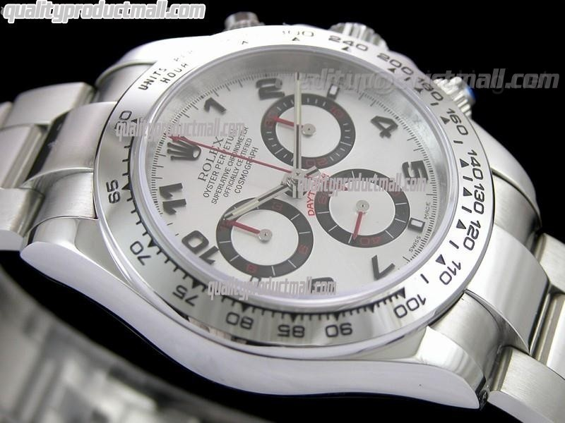 Rolex Daytona Swiss Chronograph-White Dial Silver Subdials-Red Chronograph-Stainless Steel Oyster Bracelet