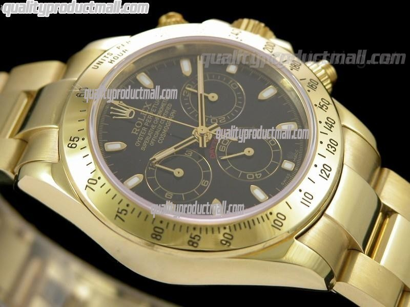 Rolex Daytona Swiss 18K Gold Chronograph-Black Dial Gold Ring Subdials-Stainless Steel Oyster Bracelet