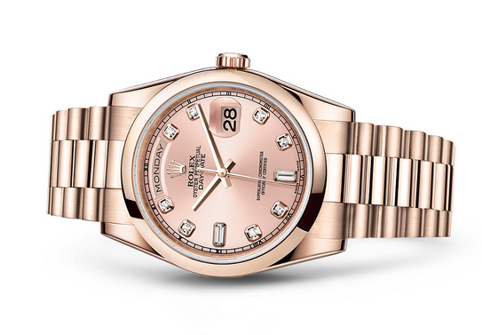 Rolex Day-Date 118205 Swiss Automatic Watch Rose Gold Dial Presidential Bracelet 36MM