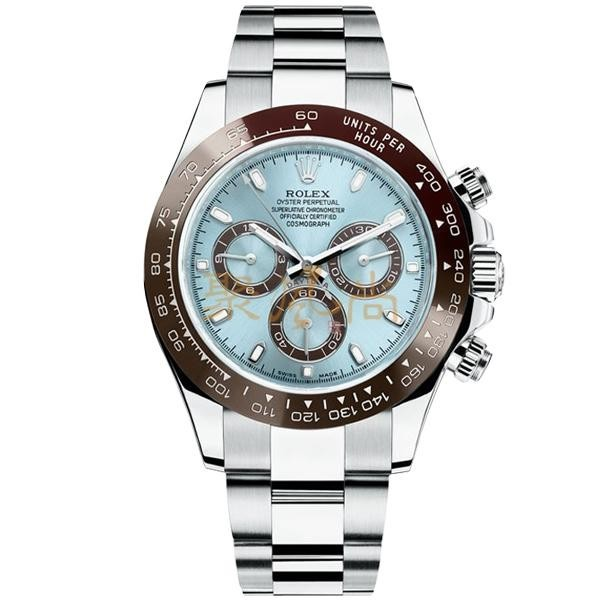 Rolex Daytona Automatic Watch Swiss - Ice Blue Dial With Droplet Marker - Stainless Steel Strap