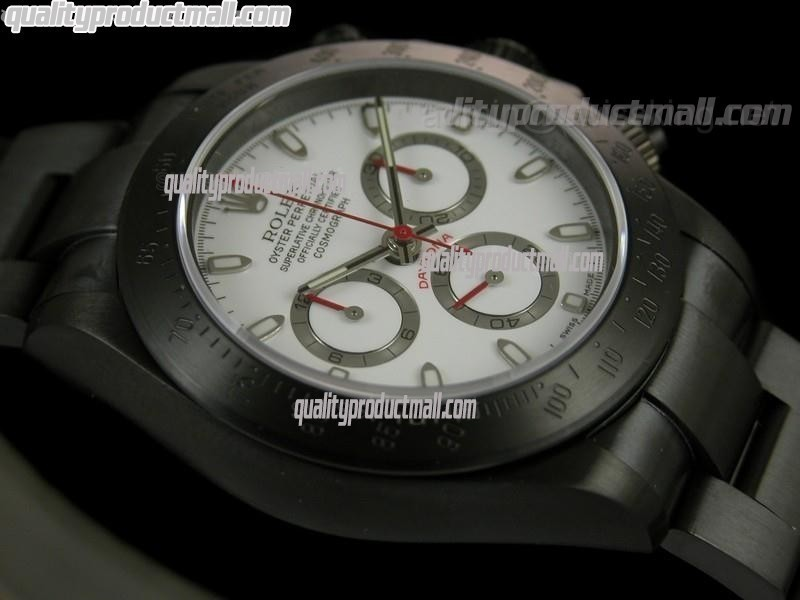Rolex Daytona Pro Hunter Sticks-White Dial Silver Subdials-Black PVD Stainless Steel Oyster Strap