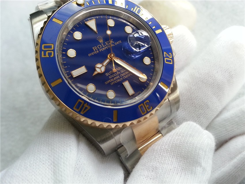 Rolex Submariner Automatic Watch 18K Gold Blue Dial