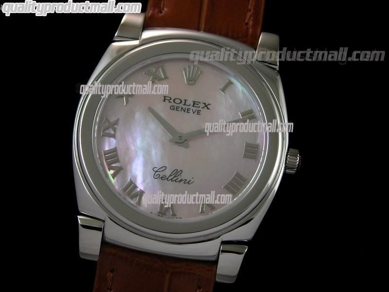 Rolex Cellini Swiss Quartz Watch-MOP Pink Dial Roman Numeral Hour Markers-Brown Leather strap
