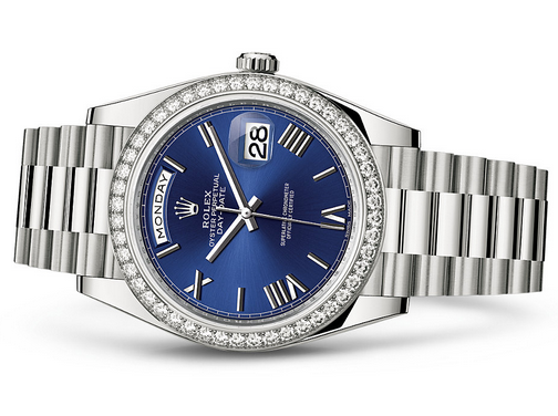 Rolex Day-Date 228349 Swiss Automatic Watch Blue Dial Diamonds Bezel 40MM