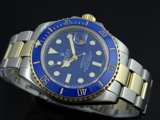 Rolex Submariner 116613 Automatic 18k Gold-Luminous Blue Dial-Stainless Steal Strap (Rolex submariner blue dial replica)