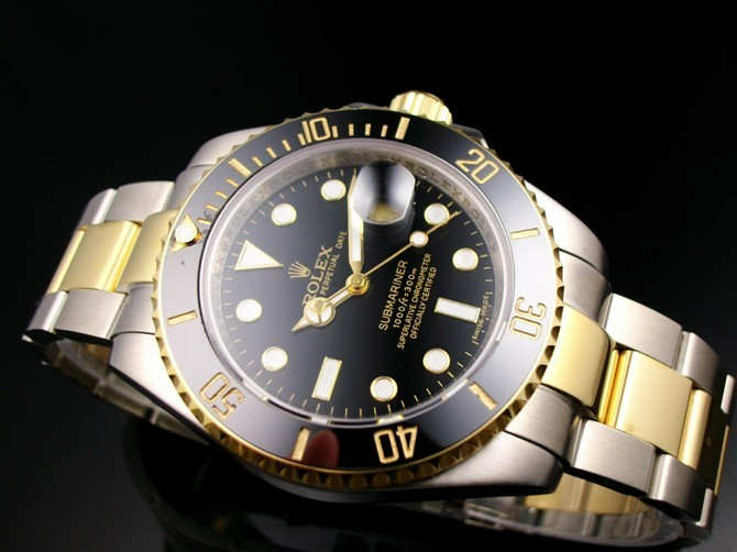 Rolex Submariner 16613 Automatic 18k Gold-Black Luminous Dial-Stainless Steel Strap