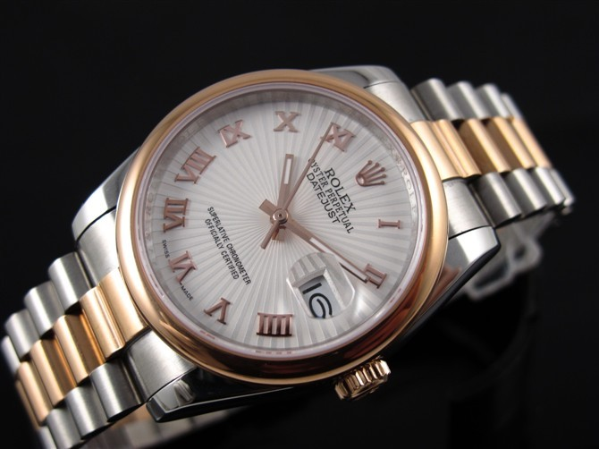 Rolex Datejust E721 Automatic 18k Gold-White Dial Roman Number Markers-Stainless Steel Strap