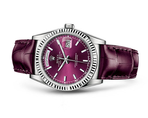Rolex Day-Date Swiss Automatic Watch Wine Red Dial 36MM