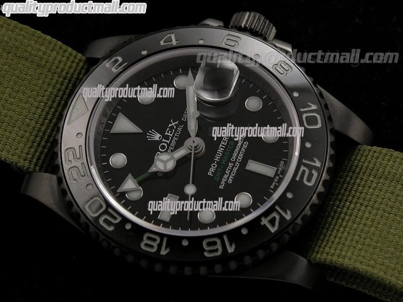 Rolex GMT II Pro Hunter Automatic Watch-Black Dial Large Dot Hour Markers-Light Green Nylon NATO Strap