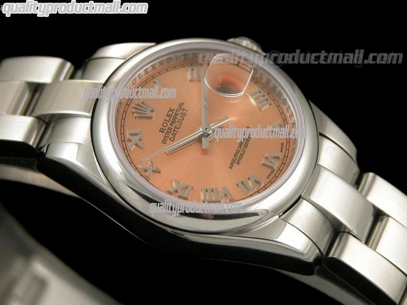 Rolex Datejust 25MM Swiss ETA Automatic Watch-Salmon Dial Roman Numeral Markers-Stainless Steel Oyster Bracelet