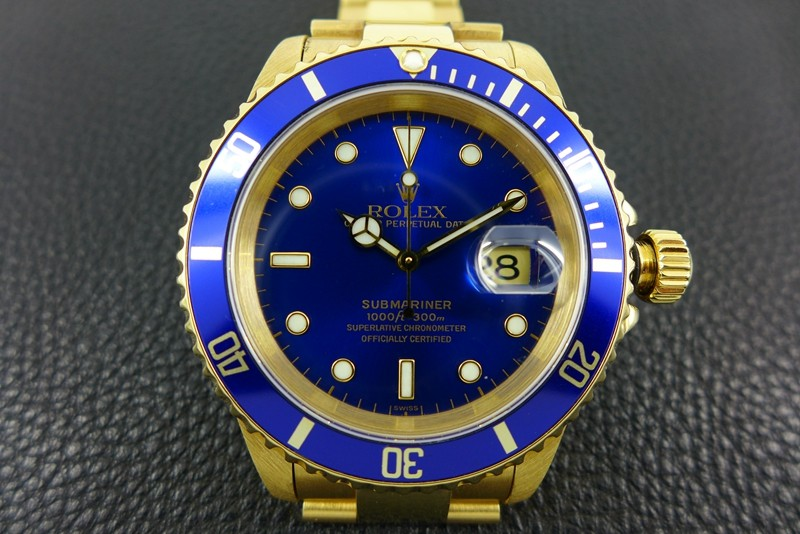 Rolex Submariner Swiss Automatic Watch Full Gold Blue Dial