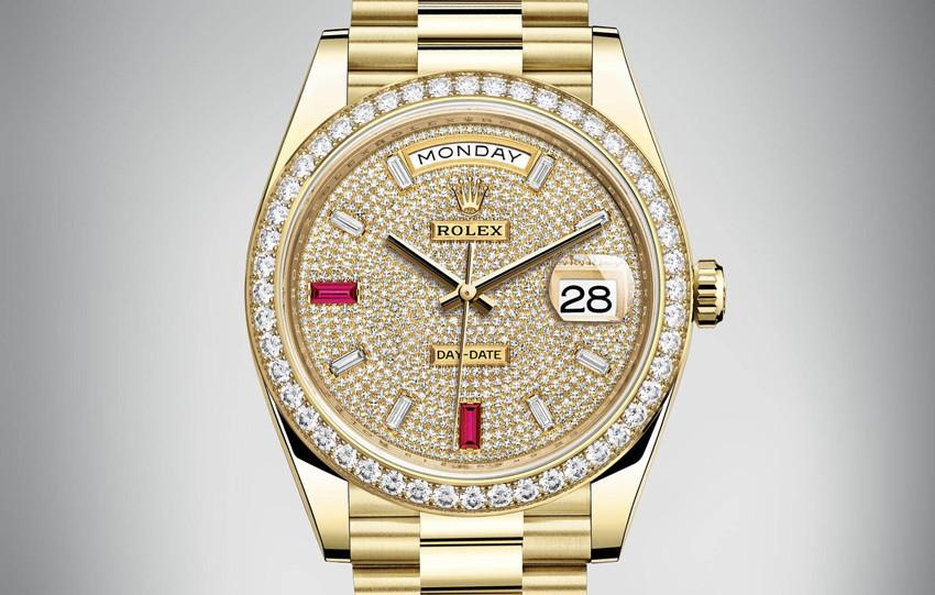 Rolex Day-Date Swiss Automatic Watch Yellow Gold Full Diamonds