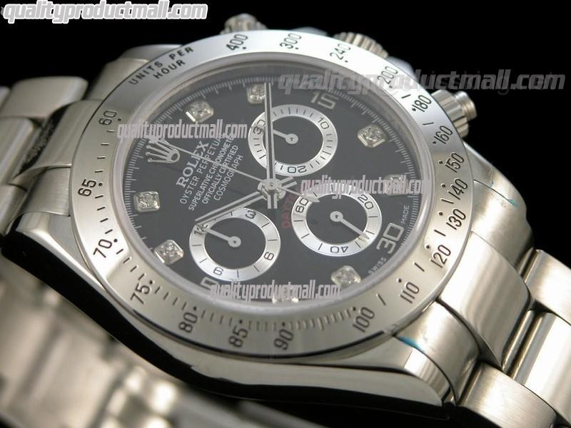 Rolex Daytona Swiss Chronograph-Black Dial Silver Subdials-Diamond Hour Markers-Stainless Steel Oyster Bracelet