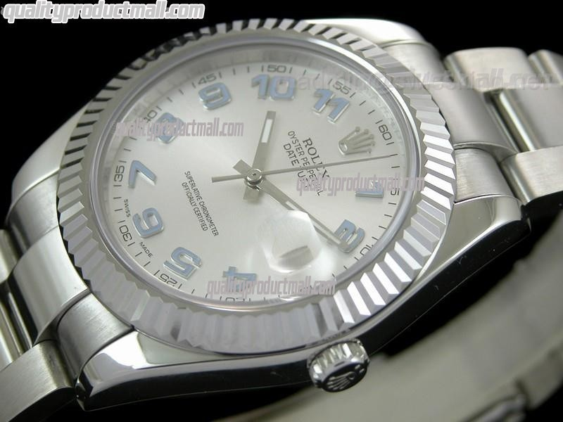 Rolex Datejust II 41mm Swiss Automatic Watch-White Dial Numeral Hour Markers-Stainless Steel Oyster Bracelet