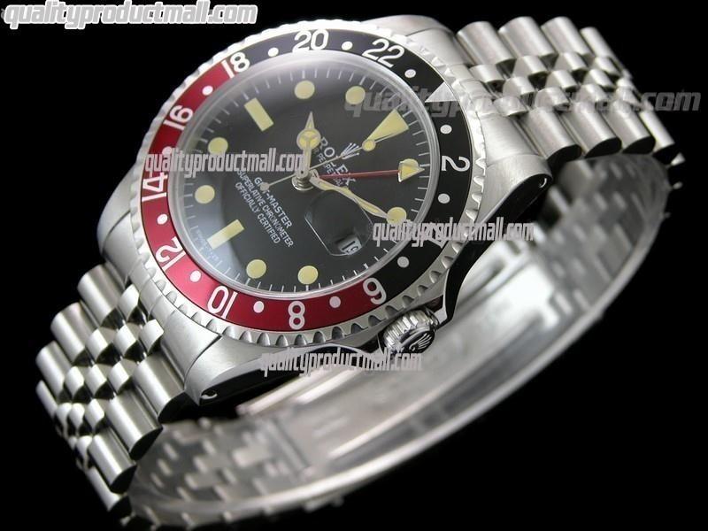 Rolex GMT II Swiss ETA Automatic Watch-Vintage Black Dial Black/Red Bezel-Stainless Steel Jubilee Bracelet