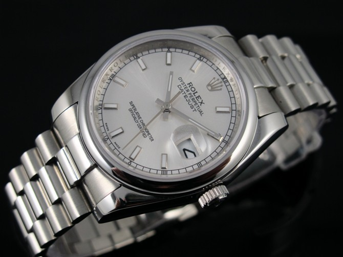 Rolex Datejust 36mm Swiss Automatic Watch-White Dial Index Hour Markers-Stainless Steel Jubilee Bracelet