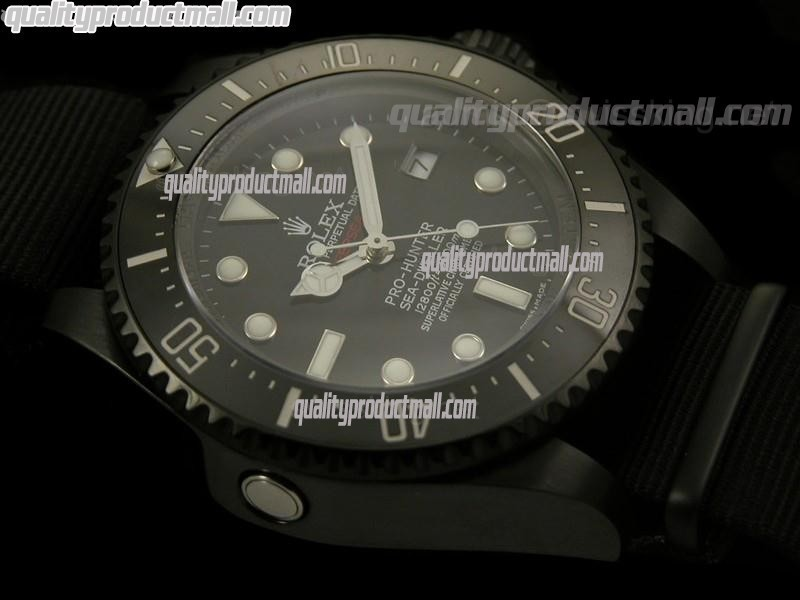 Rolex Sea Dweller Deep Sea Pro Hunter Automatic Watch-Black Dial White Dot Markers-NATO Strap