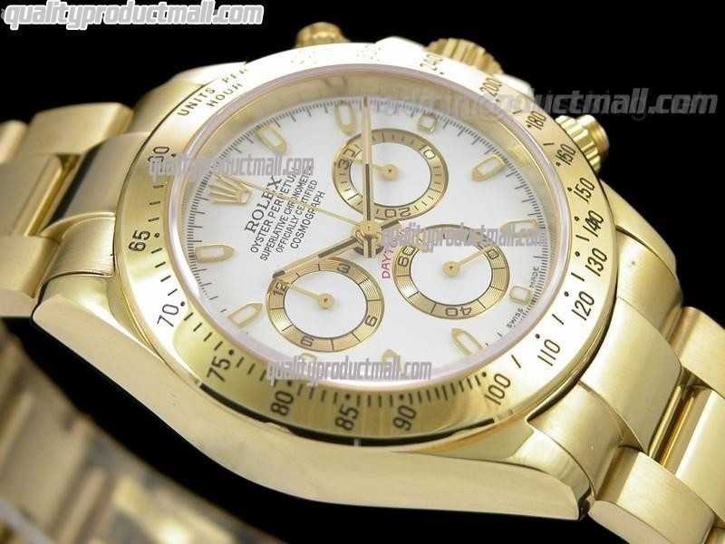 Rolex Daytona Swiss 18K Gold Chronograph-White Dial, Gold Ring Subdials-Stainless Steel Oyster Bracelet