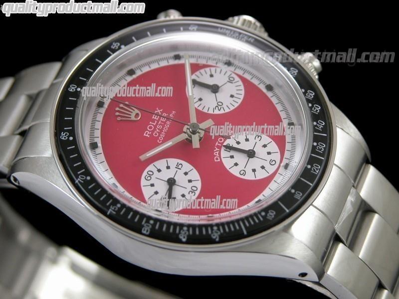 Rolex Daytona Paul Newman Chronograph-Red Dial White Subdials-Black Bezel-Stainless Steel Oyster Bracelet