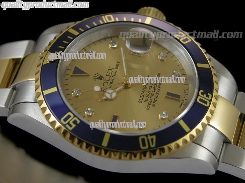 Rolex Submariner Automatic ETA Bi Tone 18K Gold-Gold Dial-18K Plated Gold Plated/Steel Two Tone Oyster Bracelet