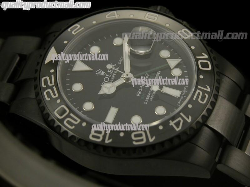 Rolex GMT II Pro Hunter Swiss Automatic Watch-Black Dial White Dots Sticks Markers-Black PVD Coated Oyster Stainless Steel Bracelet