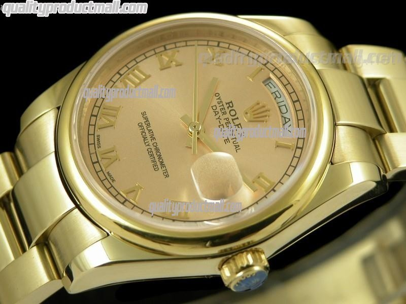 Rolex DayDate II 41mm Swiss Automatic Watch 18k Gold- Gold Dial Roman Numeral Markers-Stainless Steel Presidential Bracelet