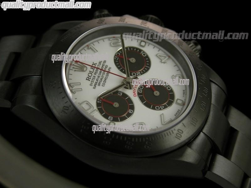 Rolex Daytona Pro Hunter Numeral-White Dial-Black PVD Stainless Steel Oyster Strap