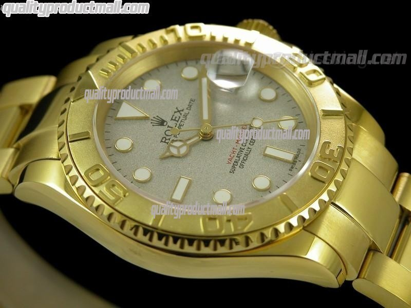 Rolex Yachtmaster II Gold Swiss ETA-Rolesium Dial White Dot Markers-Gold Plated Stainless Steel Oyster Strap