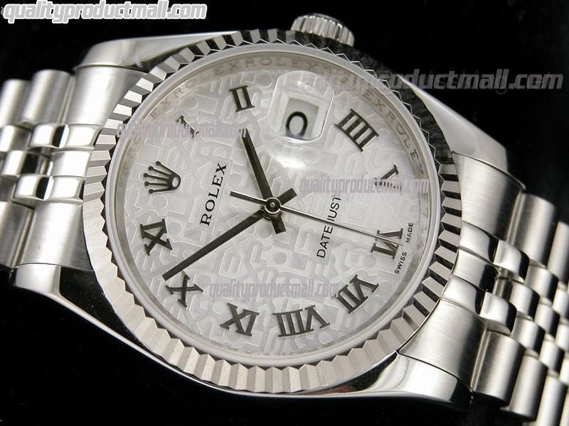 Rolex Datejust 36mm Swiss Automatic Watch-Grey Jubilee Dial Roman Numeral Hours-Stainless Steel Jubilee Bracelet