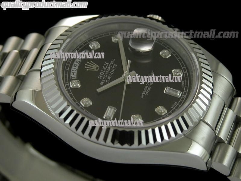 Rolex DayDate II 41mm Swiss Automatic Watch-Black Dial Diamond Hour Markers-Stainless Steel Presidential Bracelet