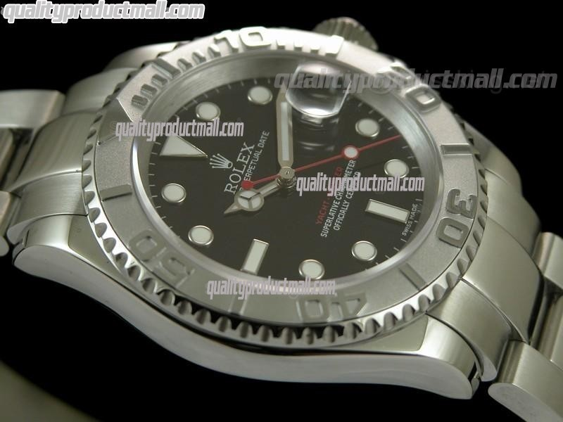 Rolex Yachtmaster II Swiss Automatic Watch-Black Dial White Dot Markers-Stainless Steel Oyster Bracelet