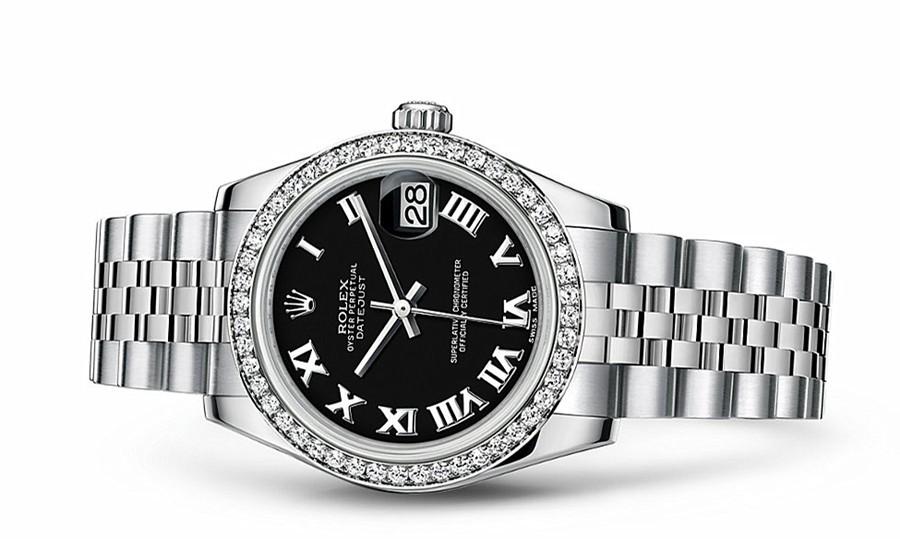 Rolex Datejust Ladies 178384-0039 Swiss Automatic Black Dial 31MM