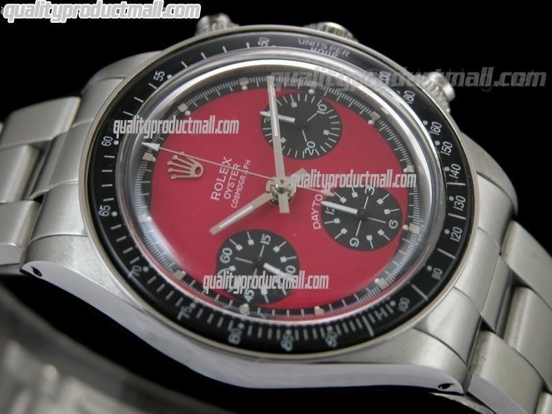 Rolex Daytona Paul Newman Chronograph-Red Dial Black Subdials-Black Bezel-Stainless Steel Oyster Bracelet