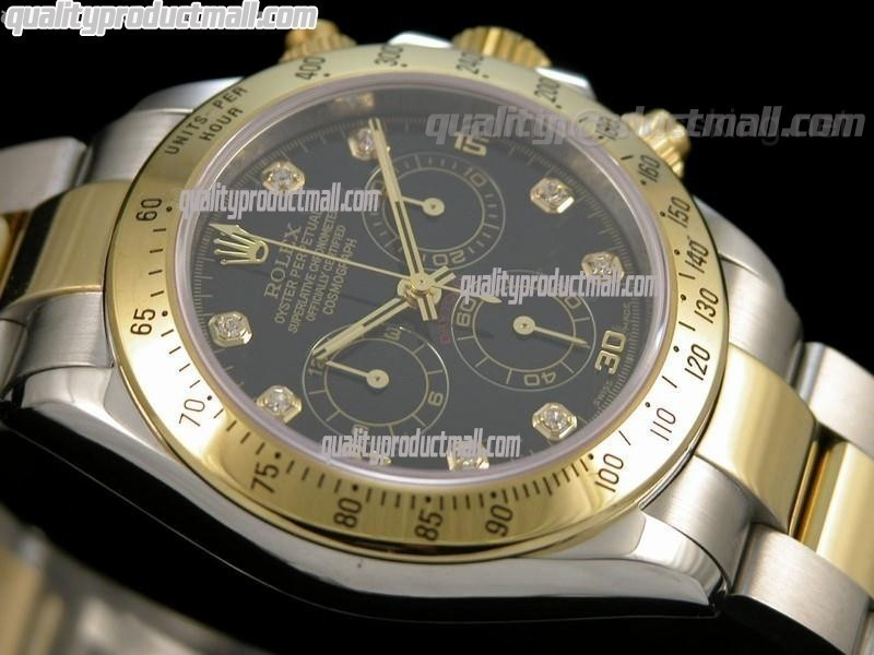 Rolex Daytona Swiss 18K Gold Bi Tone Chronograph-Black Dial Gold Ring Subdials-Diamond Hours-Stainless Steel Oyster Bracelet