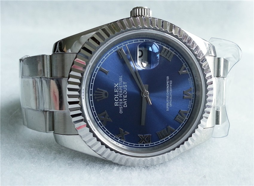 Rolex Datejust II 41mm Swiss Automatic Watch-Blue Dial Roman Numeral Hour Markers-Stainless Steel Oyster Bracelet