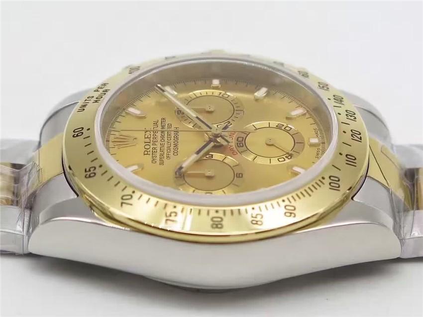 Rolex Daytona Swiss 18K Gold Bi Tone Chronograph-Gold Dial Gold Ring Subdials-Stainless Steel Oyster Bracelet