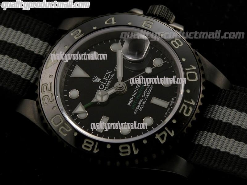 Rolex GMT II Pro Hunter Bi Tone Automatic Watch-Black dial  Large Dot Hour Markers-Nylon NATO Strap
