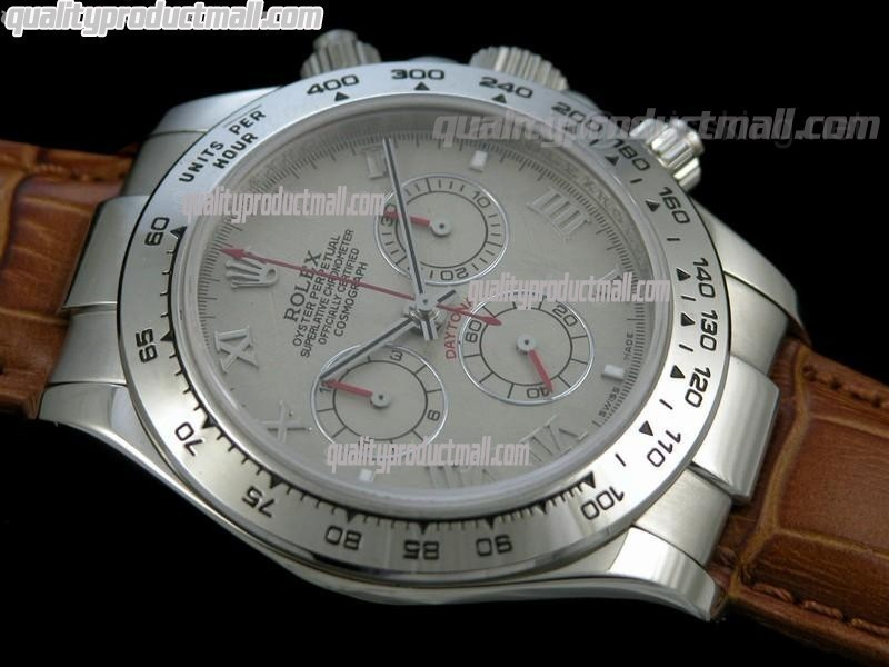 Rolex Daytona Swiss Chronograh-Meteorite Dial, Silver Ring Subdials-Genuine Brown Leather Strap