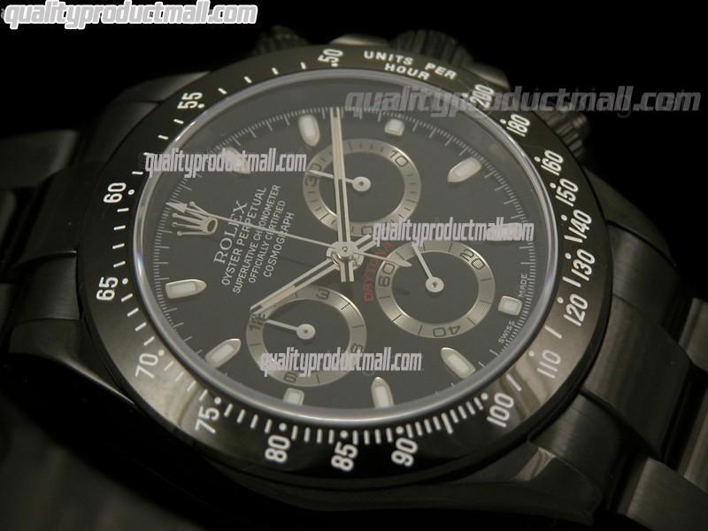 Rolex Daytona Swiss BAKELITE Pro Hunter PVD Chronograh-Black Dial Silver Subdials-Black PVD Coated Stainless Steel Oyster Bracelet