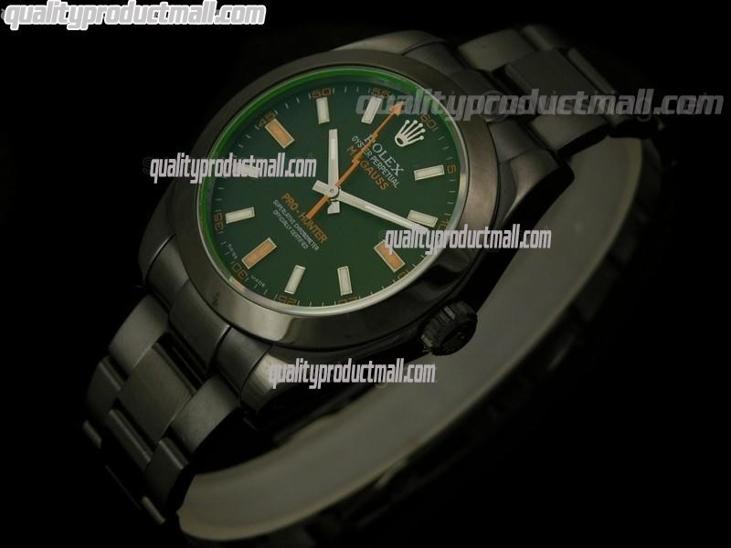 Rolex Milgauss ETA Pro Hunter Swiss Watch-Black Dial Index Hour Markers-Black PVD Coated Stainless Steel Bracelet