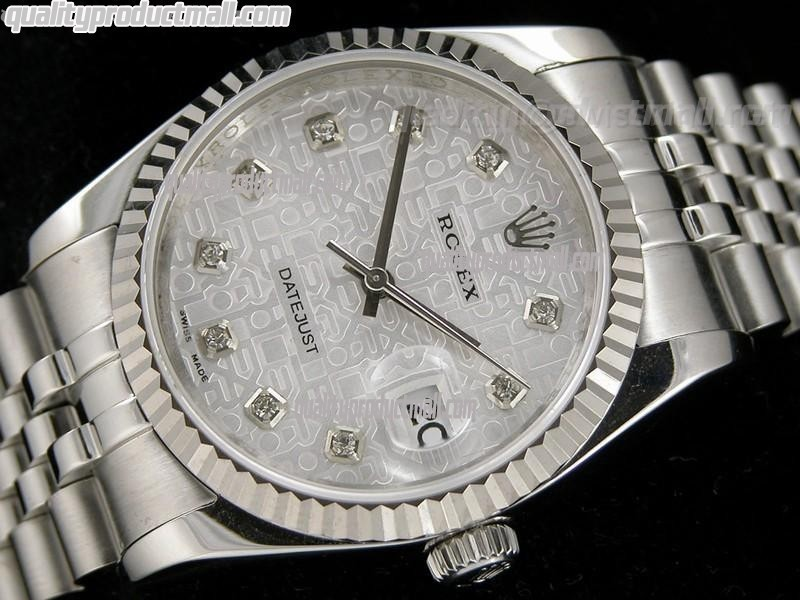 Rolex Datejust Swiss Automatic Watch-Grey Jubilee Dial Diamond Hour Markers-Stainless Steel Jubilee Bracelet