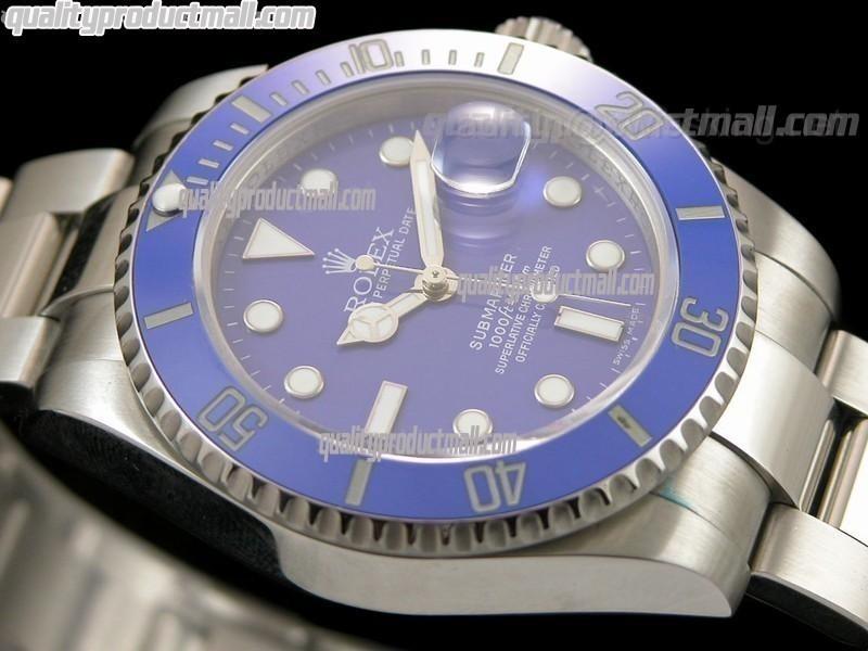 Rolex Submariner Automatic Swiss Watch - Blue Dial - Blue  Bezel