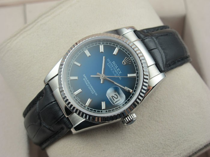 Rolex Datejust 36mm Swiss Automatic Watch-Blue Dial Stick Markers-Black Leather Bracelet
