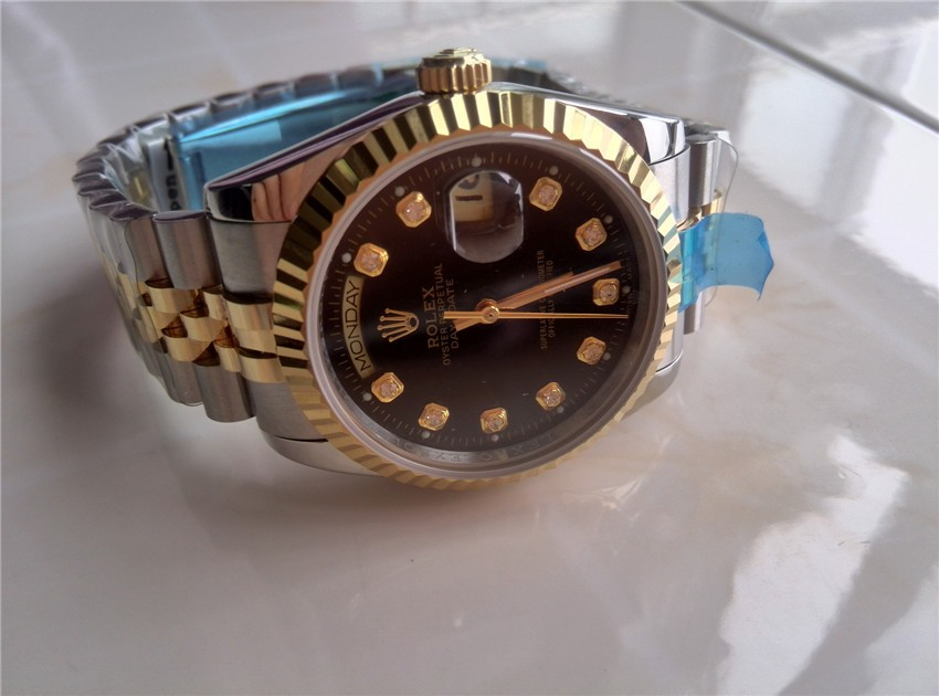 Rolex Day Date Automatic Swiss Watch 18K Gold-Black Dial Diamond Markers-Stainless Steel Jubilee Bracelet
