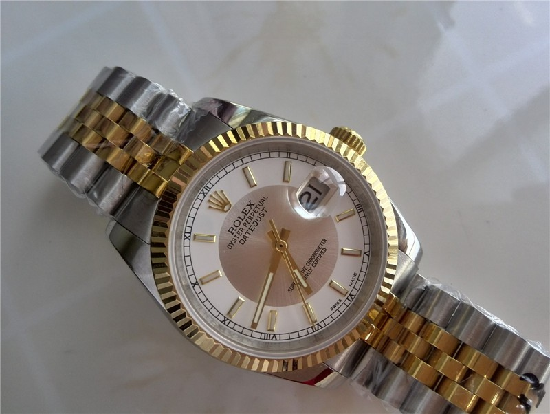 Rolex Oyster Perpetual Automatic 18k Gold- White Dial Gormment Markers-Stainless Steel Strap