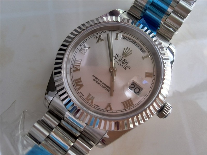 Rolex DayDate II 41mm Swiss Automatic Watch-Silver Dial Roman Numeral Markers-Stainless Steel Presidential Bracelet