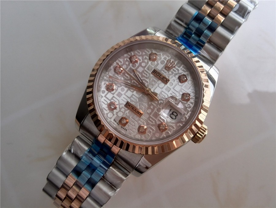Rolex Datejust E697 Automatic Watch Rose Gold Dial 38MM