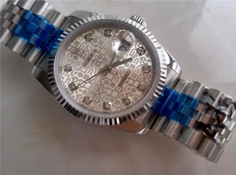 Rolex Datejust 36mm Swiss Automatic Watch-Grey Jubilee Dial Diamond Hour Markers-Stainless Steel Jubilee Bracelet